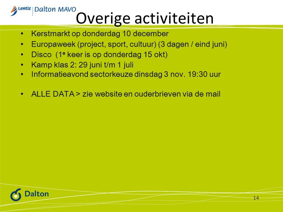 Overige activiteiten Kerstmarkt op donderdag 10 december Europaweek (project, sport, cultuur) (3 dagen / eind juni) Disco (1 e keer is op donderdag 15