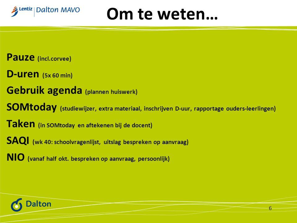 Om te weten… Pauze (incl.corvee) D-uren (5x 60 min) Gebruik agenda (plannen huiswerk) SOMtoday (studiewijzer, extra materiaal, inschrijven D-uur, rapportage ouders-leerlingen) Taken (in SOMtoday en aftekenen bij de docent) SAQI (wk 40: schoolvragenlijst, uitslag bespreken op aanvraag) NIO (vanaf half okt.