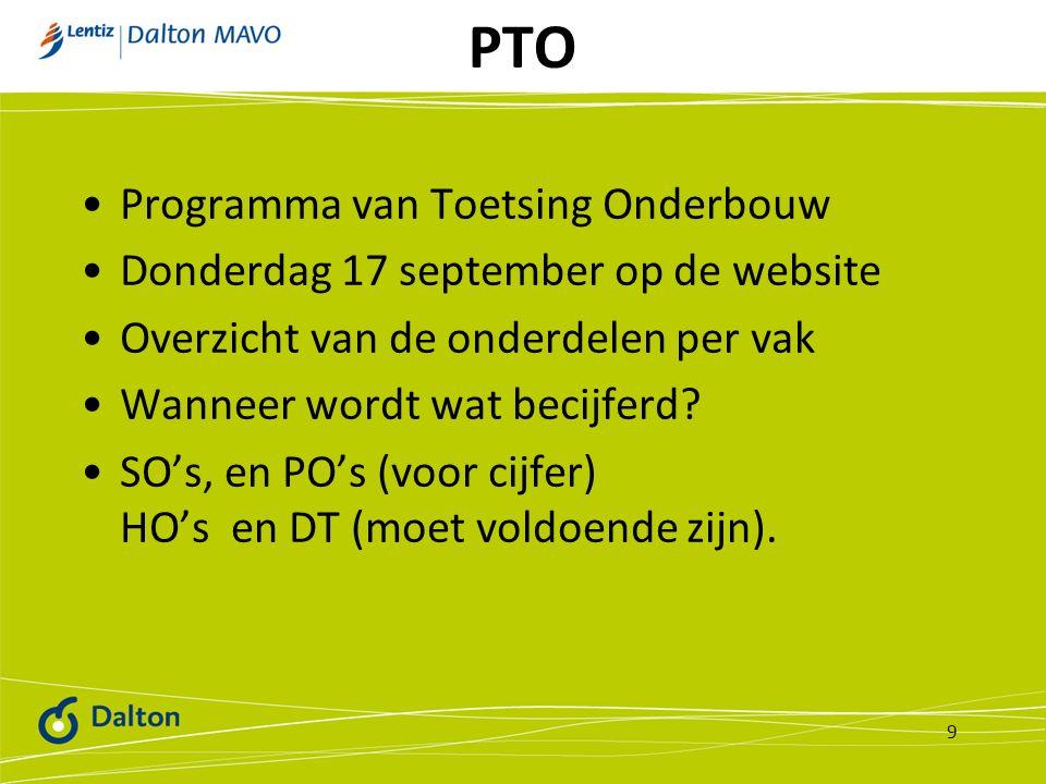 PTO Programma van Toetsing Onderbouw Donderdag 17 september op de website Overzicht van de onderdelen per vak Wanneer wordt wat becijferd? SO's, en PO