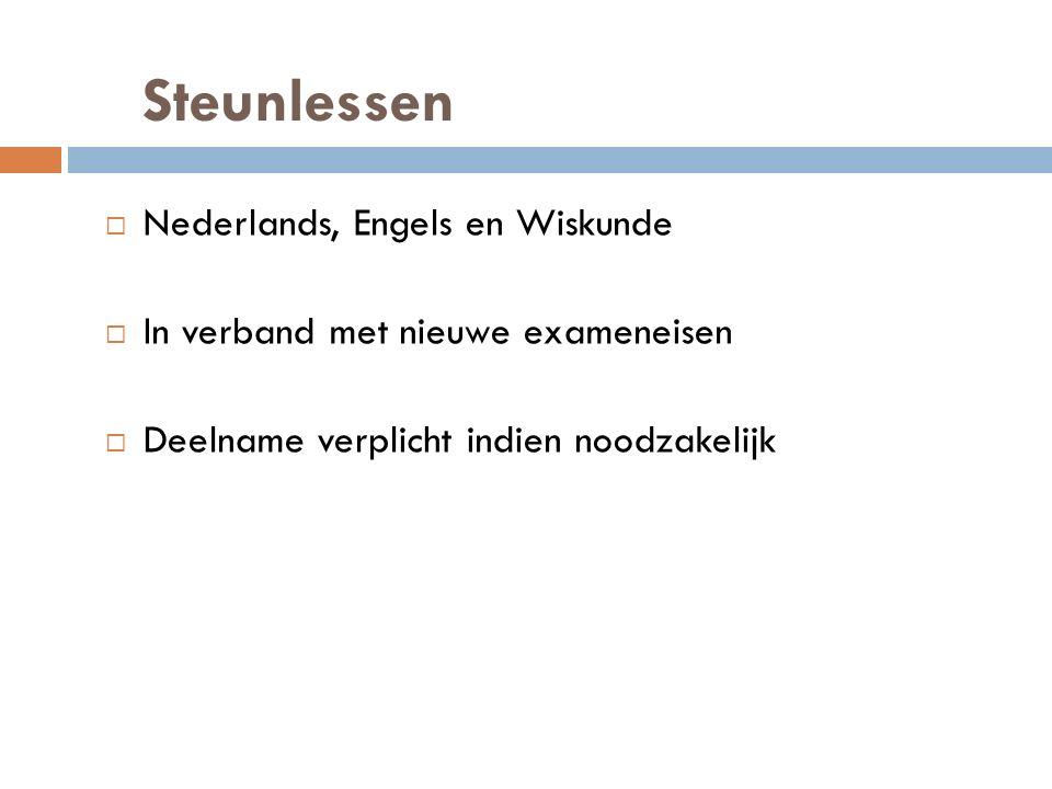 Steunlessen  Nederlands, Engels en Wiskunde  In verband met nieuwe exameneisen  Deelname verplicht indien noodzakelijk