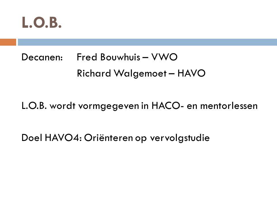 L.O.B. Decanen:Fred Bouwhuis – VWO Richard Walgemoet – HAVO L.O.B. wordt vormgegeven in HACO- en mentorlessen Doel HAVO4: Oriënteren op vervolgstudie