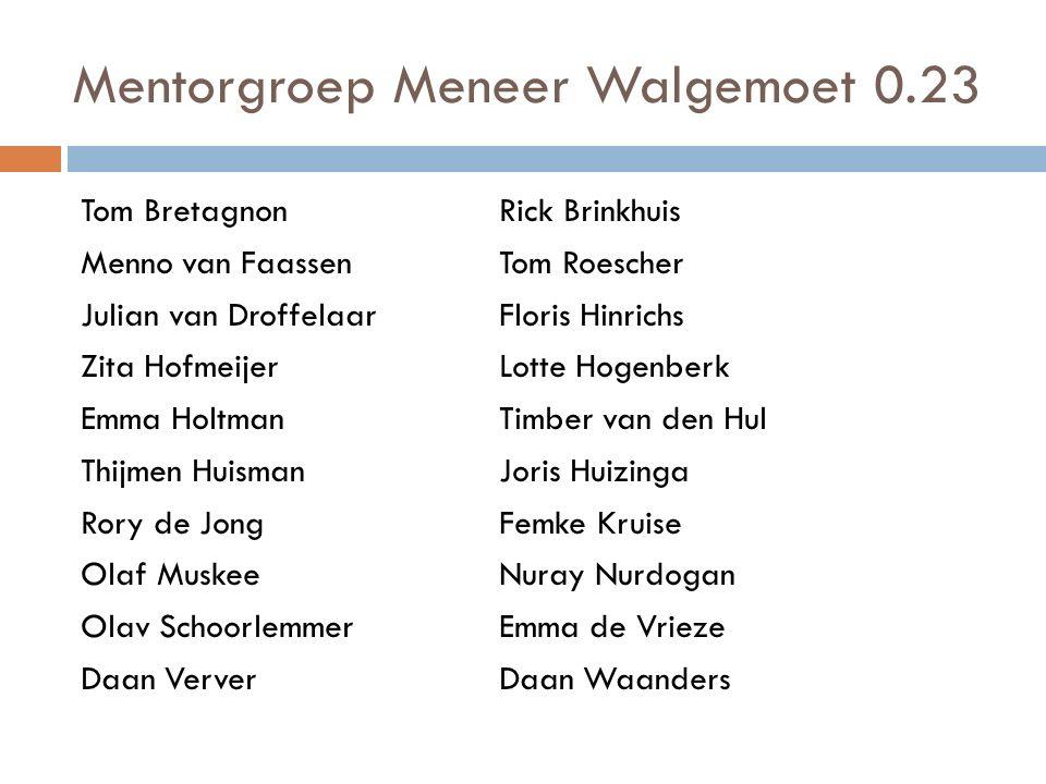 Mentorgroep Meneer Walgemoet 0.23 Tom BretagnonRick Brinkhuis Menno van FaassenTom Roescher Julian van DroffelaarFloris Hinrichs Zita Hofmeijer Lotte