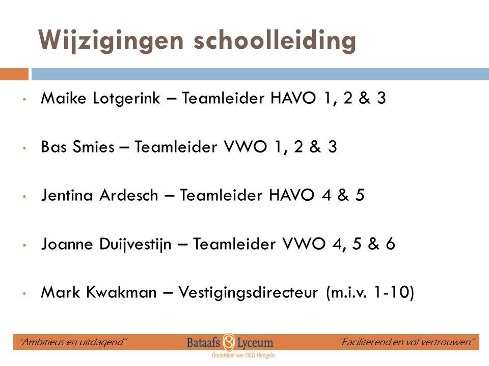 Wijzigingen schoolleiding Maike Lotgerink – Teamleider HAVO 1, 2 & 3 Bas Smies – Teamleider VWO 1, 2 & 3 Jentina Ardesch – Teamleider HAVO 4 & 5 Joann