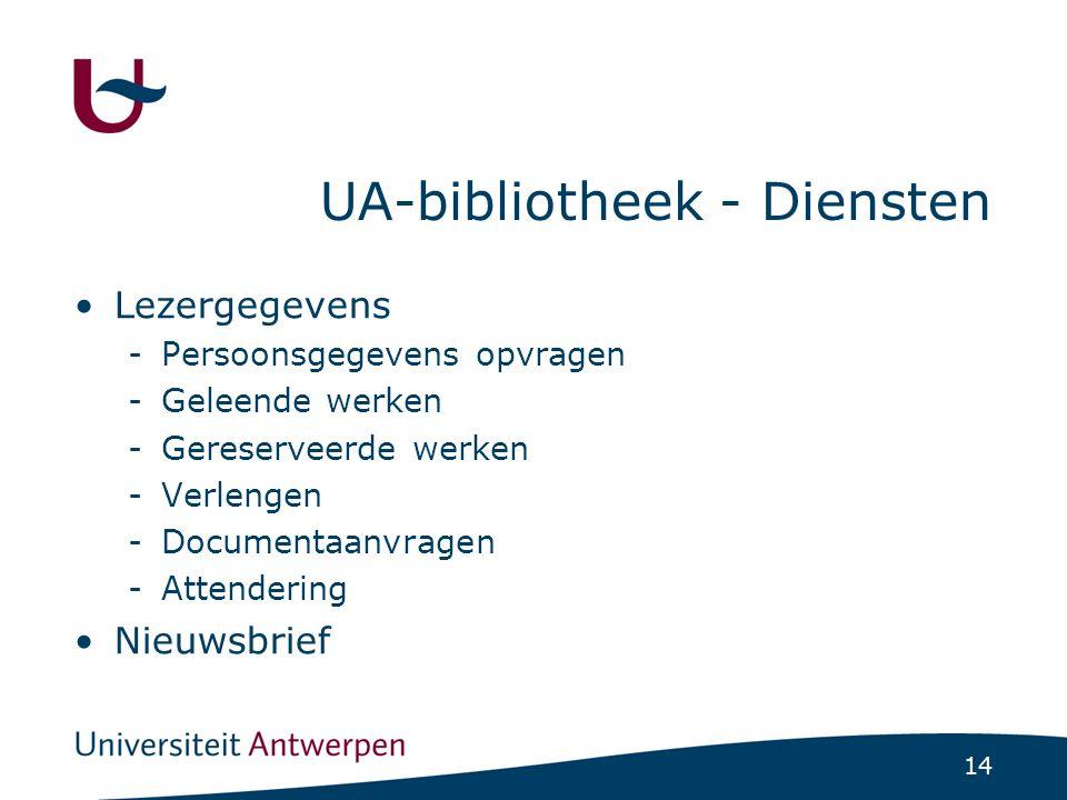 14 UA-bibliotheek - Diensten Lezergegevens -Persoonsgegevens opvragen -Geleende werken -Gereserveerde werken -Verlengen -Documentaanvragen -Attenderin
