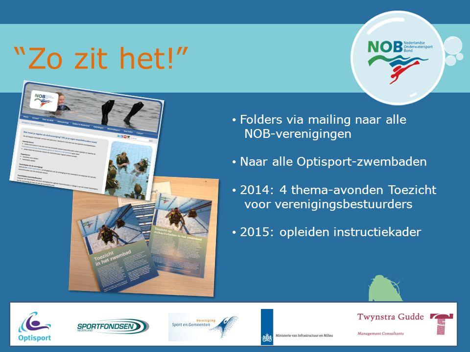 Zo zit het! Folders via mailing naar alle NOB-verenigingen Naar alle Optisport-zwembaden 2014: 4 thema-avonden Toezicht voor verenigingsbestuurders 2015: opleiden instructiekader