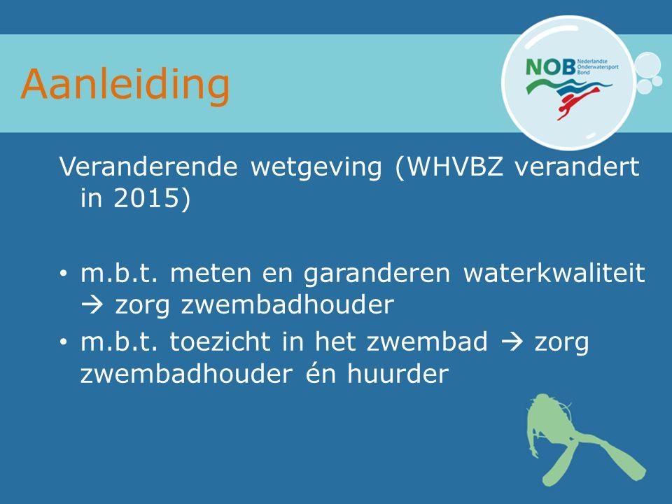 Aanleiding Veranderende wetgeving (WHVBZ verandert in 2015) m.b.t.