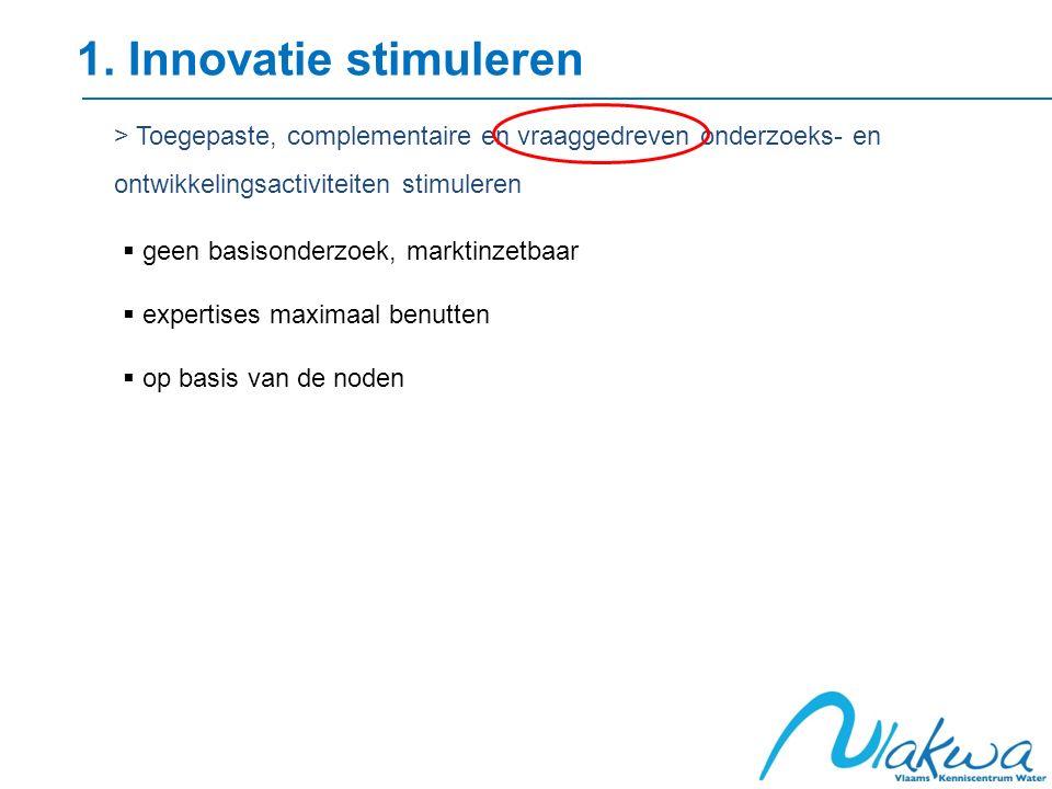 1. Innovatie stimuleren > Toegepaste, complementaire en vraaggedreven onderzoeks- en ontwikkelingsactiviteiten stimuleren  geen basisonderzoek, markt