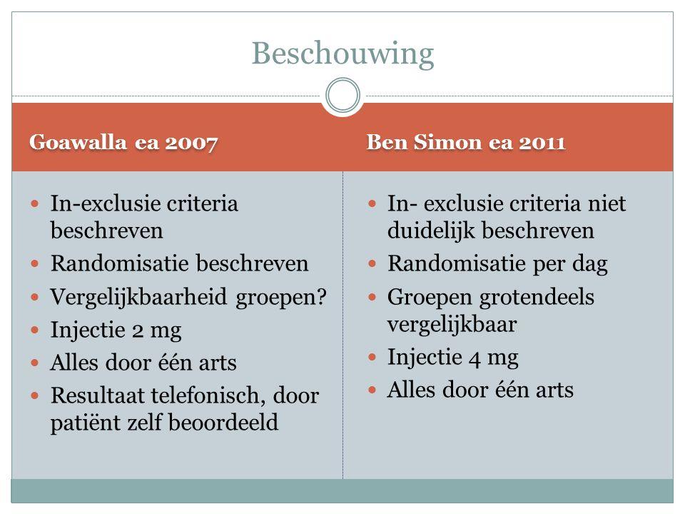 Goawalla ea 2007 Ben Simon ea 2011 In-exclusie criteria beschreven Randomisatie beschreven Vergelijkbaarheid groepen.