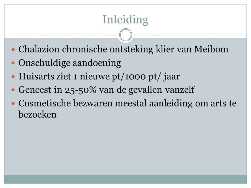 Inleiding Chalazion chronische ontsteking klier van Meibom Onschuldige aandoening Huisarts ziet 1 nieuwe pt/1000 pt/ jaar Geneest in 25-50% van de gevallen vanzelf Cosmetische bezwaren meestal aanleiding om arts te bezoeken