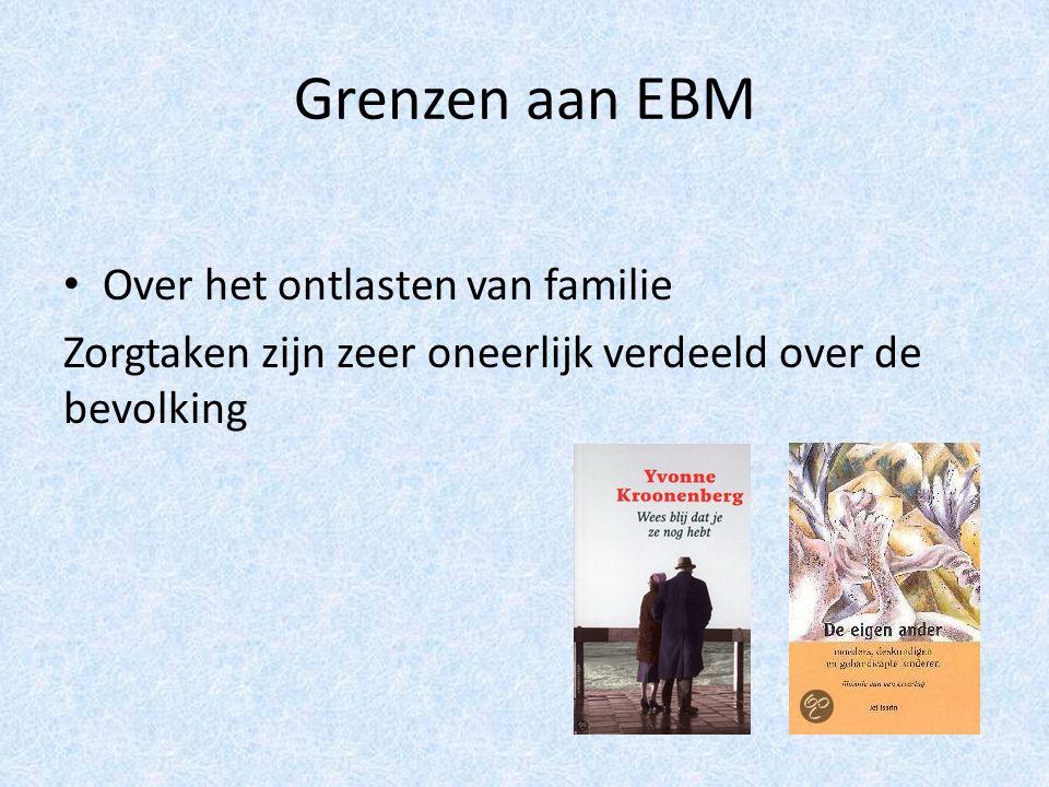 Grenzen aan EBM Over het ontlasten van familie Zorgtaken zijn zeer oneerlijk verdeeld over de bevolking