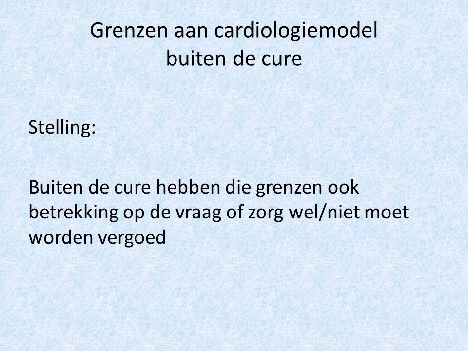 Grenzen aan cardiologiemodel buiten de cure Stelling: Buiten de cure hebben die grenzen ook betrekking op de vraag of zorg wel/niet moet worden vergoed