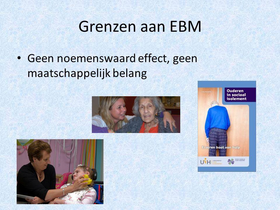 Grenzen aan EBM Geen noemenswaard effect, geen maatschappelijk belang