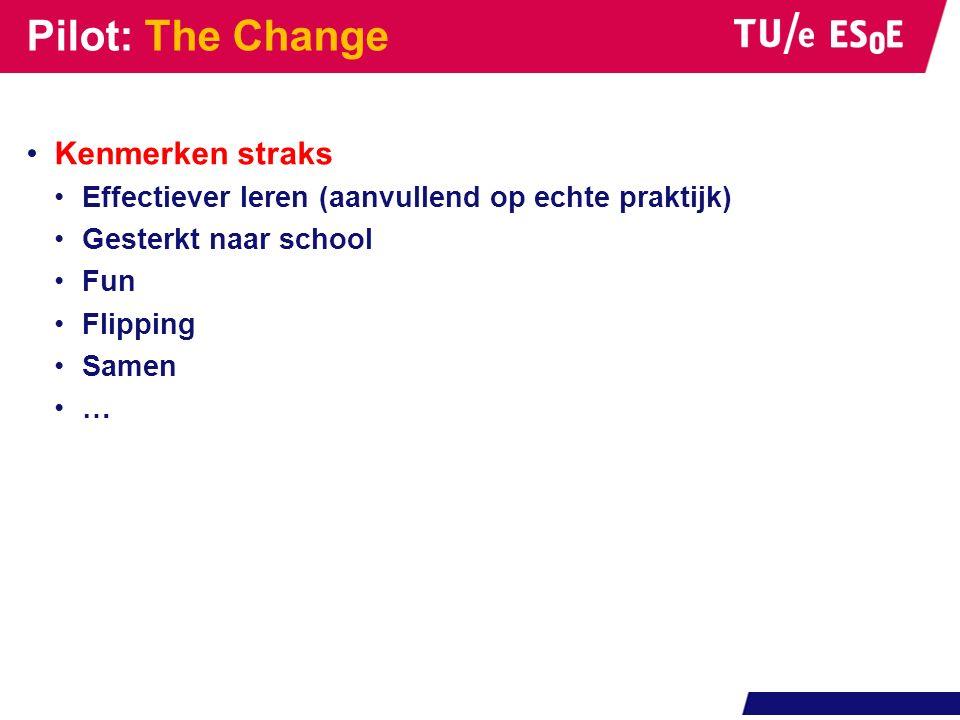 Kenmerken straks Effectiever leren (aanvullend op echte praktijk) Gesterkt naar school Fun Flipping Samen … Pilot: The Change