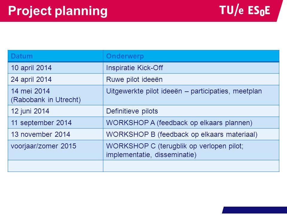 Project planning DatumOnderwerp 10 april 2014Inspiratie Kick-Off 24 april 2014Ruwe pilot ideeën 14 mei 2014 (Rabobank in Utrecht) Uitgewerkte pilot id