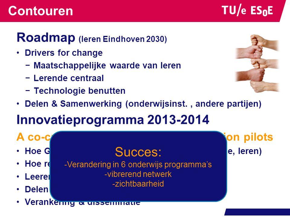 Contouren Roadmap (leren Eindhoven 2030) Drivers for change −Maatschappelijke waarde van leren −Lerende centraal −Technologie benutten Delen & Samenwe