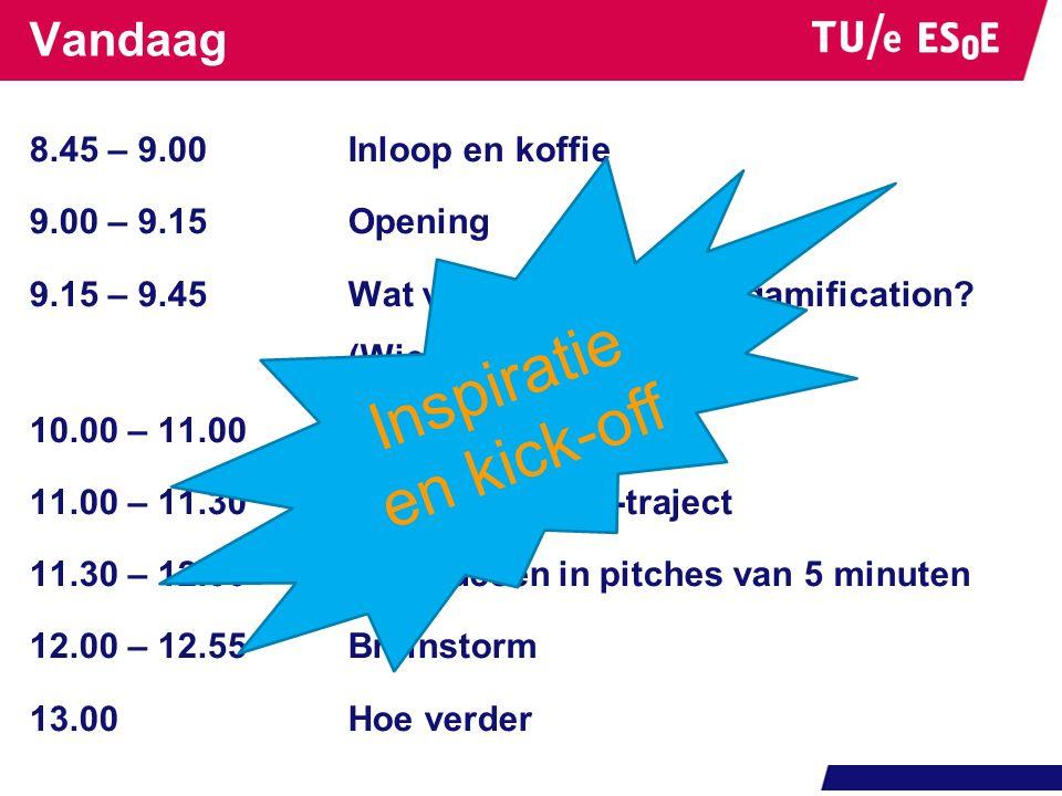 Vandaag 8.45 – 9.00Inloop en koffie 9.00 – 9.15Opening 9.15 – 9.45Wat verstaan wij onder gamification? (Wietse van Bruggen) 10.00 – 11.00Paneldiscussi