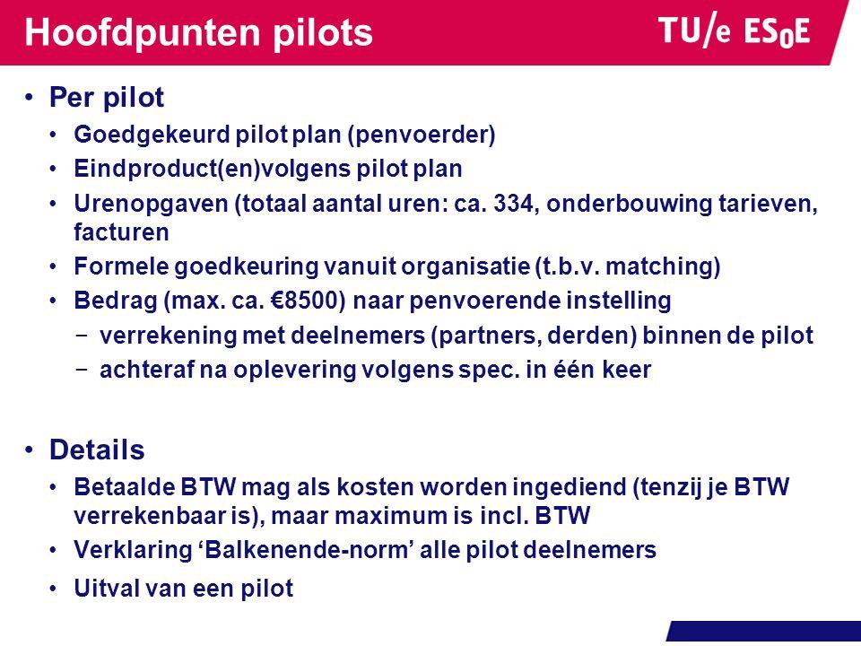 Hoofdpunten pilots Per pilot Goedgekeurd pilot plan (penvoerder) Eindproduct(en)volgens pilot plan Urenopgaven (totaal aantal uren: ca.