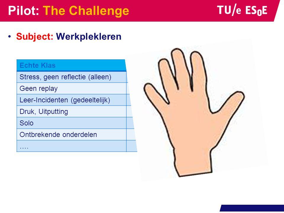 Pilot: The Challenge Subject: Werkplekleren Echte KlasVirtual Klas Stress, geen reflectie (alleen)Tijd voor reflectie (groep) Geen replayReplay Leer-I