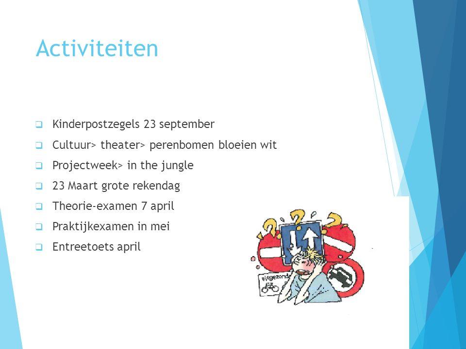 Activiteiten  Kinderpostzegels 23 september  Cultuur> theater> perenbomen bloeien wit  Projectweek> in the jungle  23 Maart grote rekendag  Theor