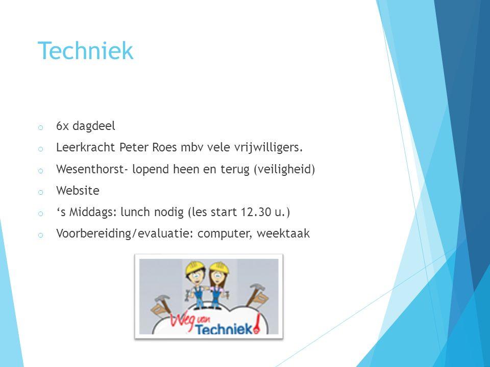 Techniek o 6x dagdeel o Leerkracht Peter Roes mbv vele vrijwilligers. o Wesenthorst- lopend heen en terug (veiligheid) o Website o 's Middags: lunch n