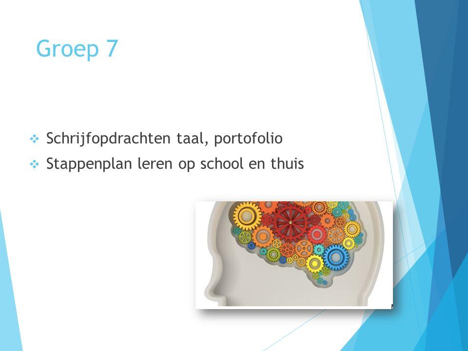 Groep 7  Schrijfopdrachten taal, portofolio  Stappenplan leren op school en thuis