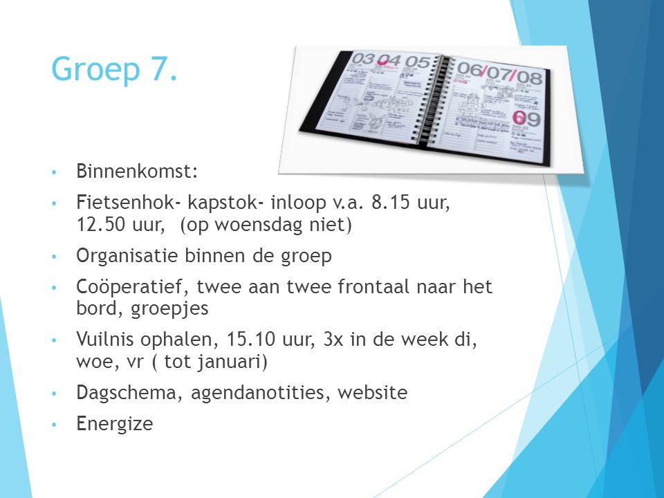 Groep 7.Binnenkomst: Fietsenhok- kapstok- inloop v.a.