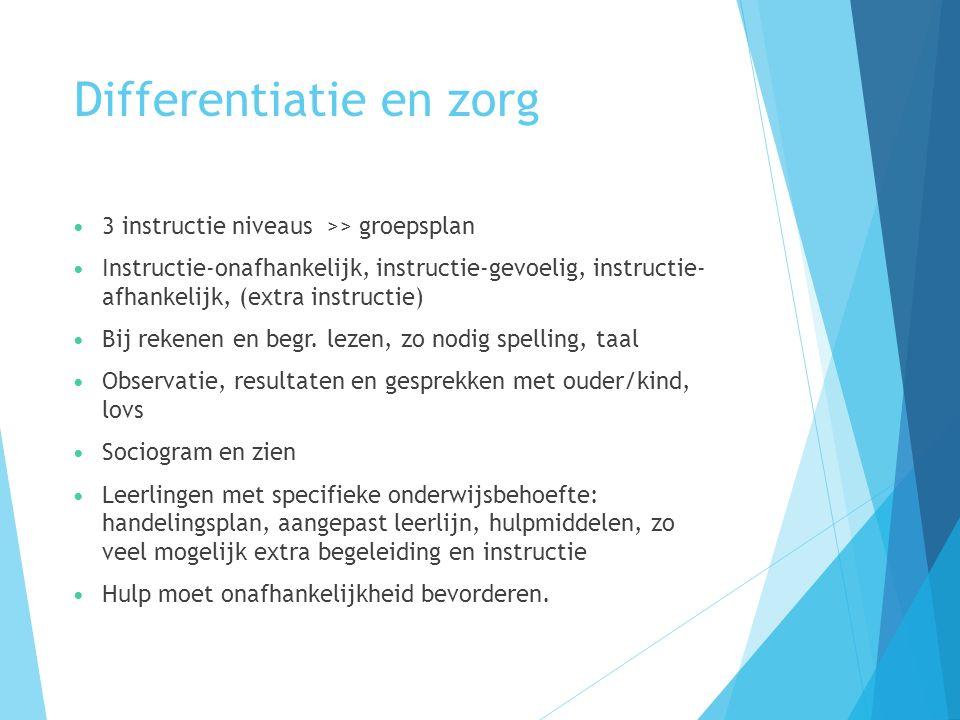 Differentiatie en zorg 3 instructie niveaus >> groepsplan Instructie-onafhankelijk, instructie-gevoelig, instructie- afhankelijk, (extra instructie) Bij rekenen en begr.