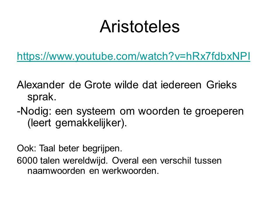 Woordsoorten volgens Aristoteles: »naamwoorden, »werkwoorden en »verbindingswoorden.