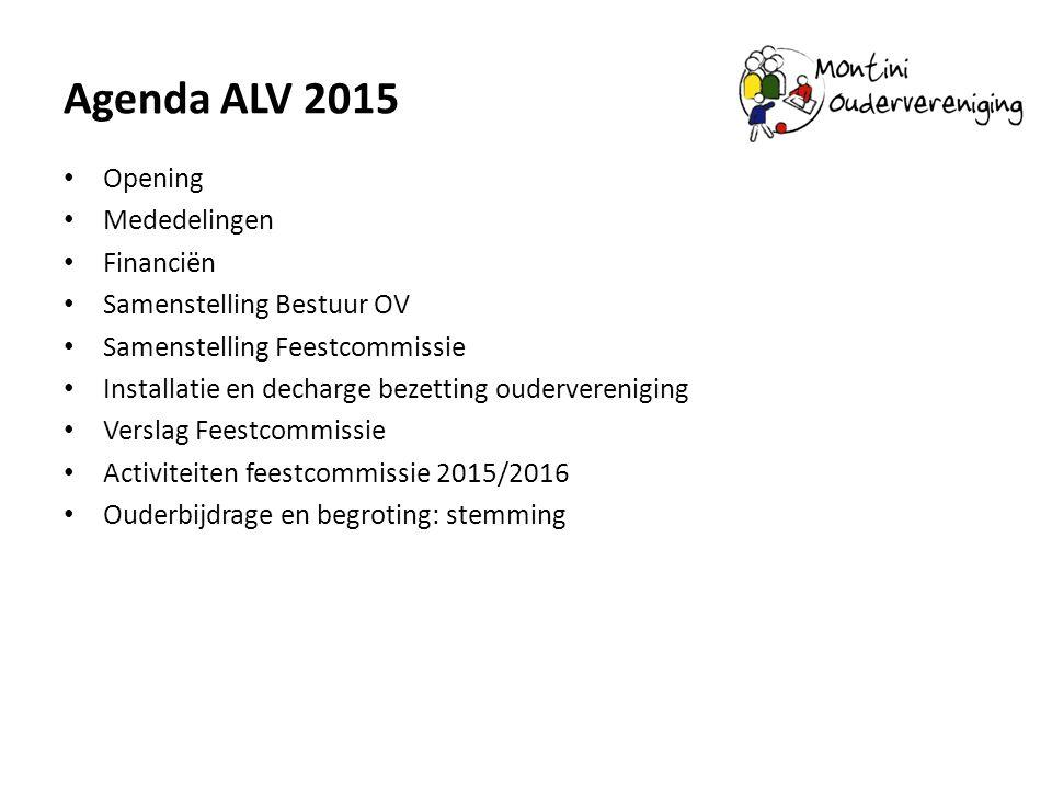 Agenda ALV 2015 Opening Mededelingen Financiën Samenstelling Bestuur OV Samenstelling Feestcommissie Installatie en decharge bezetting oudervereniging