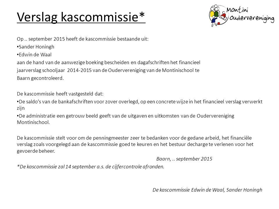 Verslag kascommissie* Op.. september 2015 heeft de kascommissie bestaande uit: Sander Honingh Edwin de Waal aan de hand van de aanwezige boeking besch