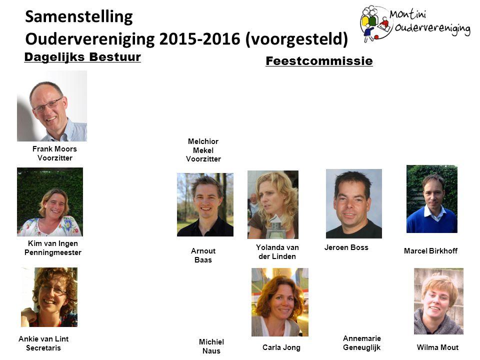 Samenstelling Oudervereniging 2015-2016 (voorgesteld) Frank Moors Voorzitter Kim van Ingen Penningmeester Dagelijks Bestuur Ankie van Lint Secretaris