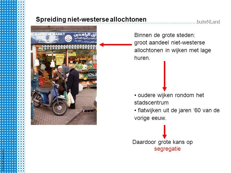 Spreiding niet-westerse allochtonen Binnen de grote steden: groot aandeel niet-westerse allochtonen in wijken met lage huren. oudere wijken rondom het