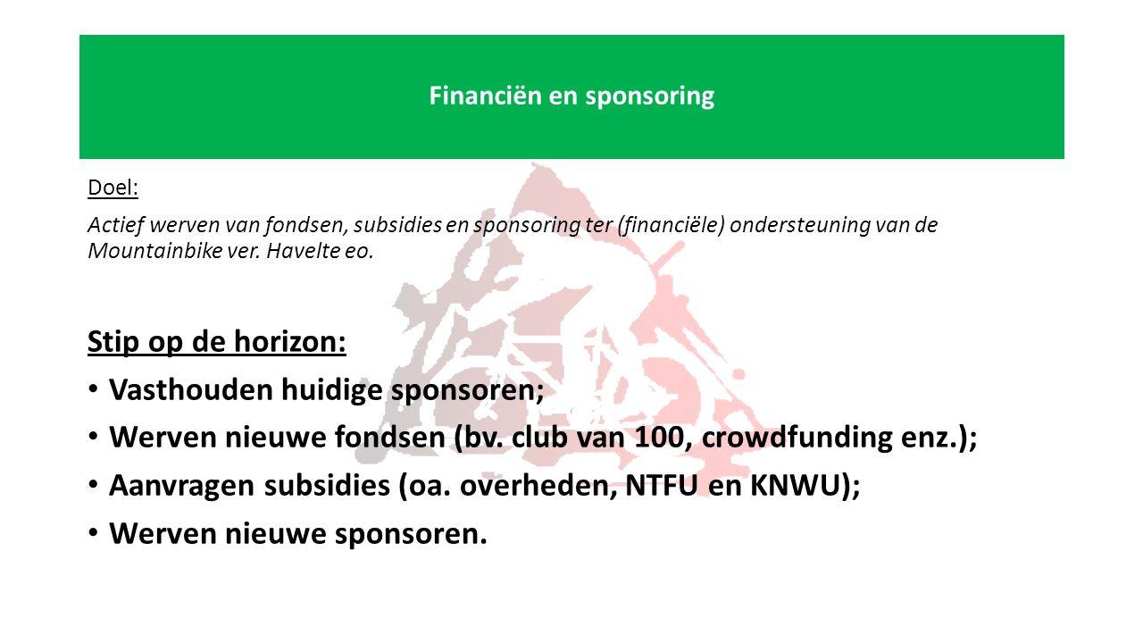 Doel: Actief werven van fondsen, subsidies en sponsoring ter (financiële) ondersteuning van de Mountainbike ver. Havelte eo. Stip op de horizon: Vasth