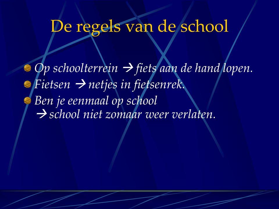 De regels van de school Op schoolterrein  fiets aan de hand lopen.
