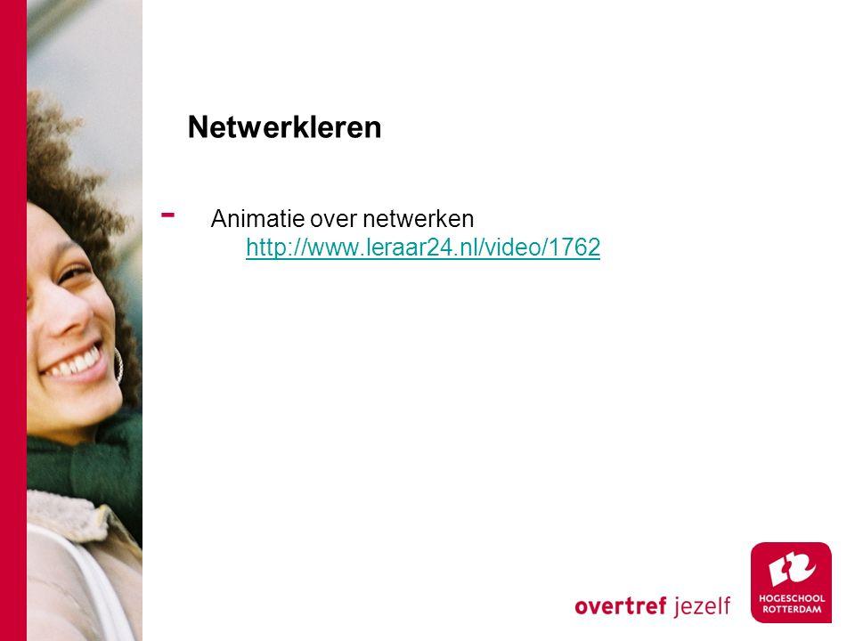 Netwerkleren - Animatie over netwerken http://www.leraar24.nl/video/1762 http://www.leraar24.nl/video/1762