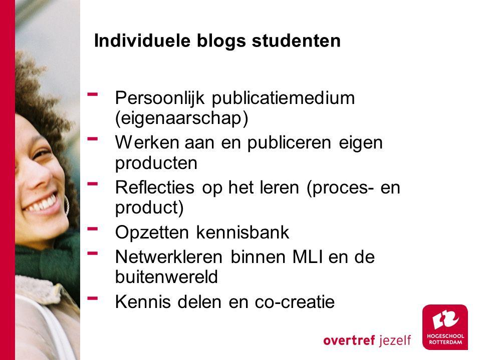 Individuele blogs studenten - Persoonlijk publicatiemedium (eigenaarschap) - Werken aan en publiceren eigen producten - Reflecties op het leren (proces- en product) - Opzetten kennisbank - Netwerkleren binnen MLI en de buitenwereld - Kennis delen en co-creatie