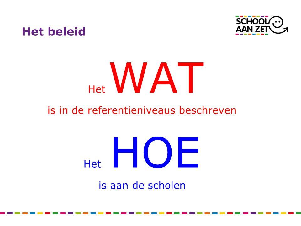 Het beleid Het WAT is in de referentieniveaus beschreven Het HOE is aan de scholen