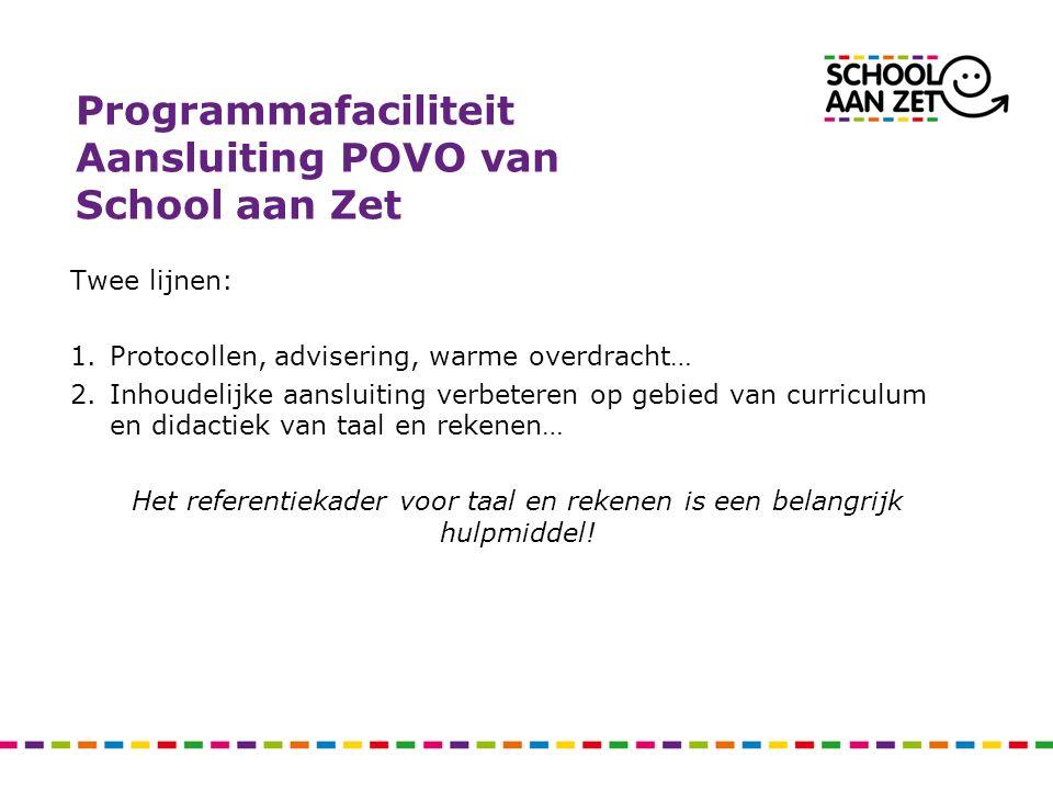 Programmafaciliteit Aansluiting POVO van School aan Zet Twee lijnen: 1.Protocollen, advisering, warme overdracht… 2.Inhoudelijke aansluiting verbetere