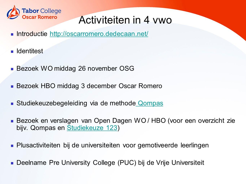 Activiteiten in 4 vwo Introductie http://oscarromero.dedecaan.net/http://oscarromero.dedecaan.net/ Identitest Bezoek WO middag 26 november OSG Bezoek