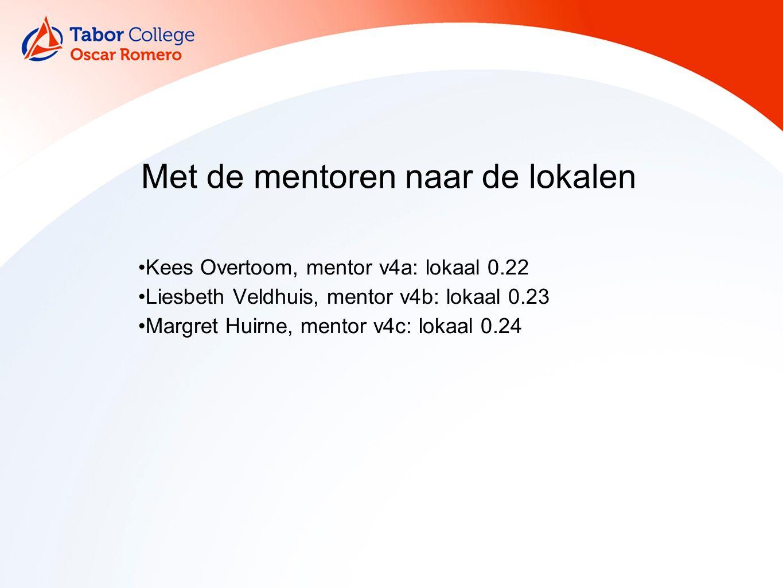 Kees Overtoom, mentor v4a: lokaal 0.22 Liesbeth Veldhuis, mentor v4b: lokaal 0.23 Margret Huirne, mentor v4c: lokaal 0.24 Met de mentoren naar de loka