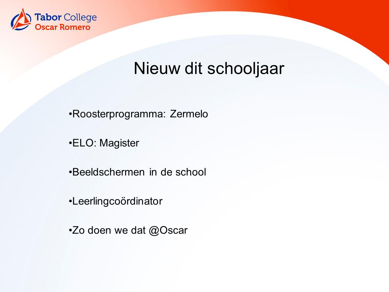 Roosterprogramma: Zermelo ELO: Magister Beeldschermen in de school Leerlingcoördinator Zo doen we dat @Oscar Nieuw dit schooljaar