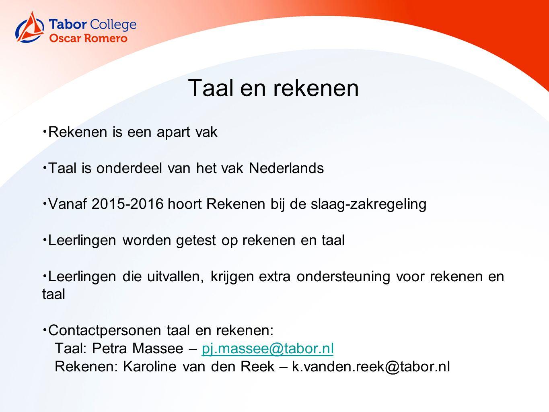 Taal en rekenen Rekenen is een apart vak Taal is onderdeel van het vak Nederlands Vanaf 2015-2016 hoort Rekenen bij de slaag-zakregeling Leerlingen wo