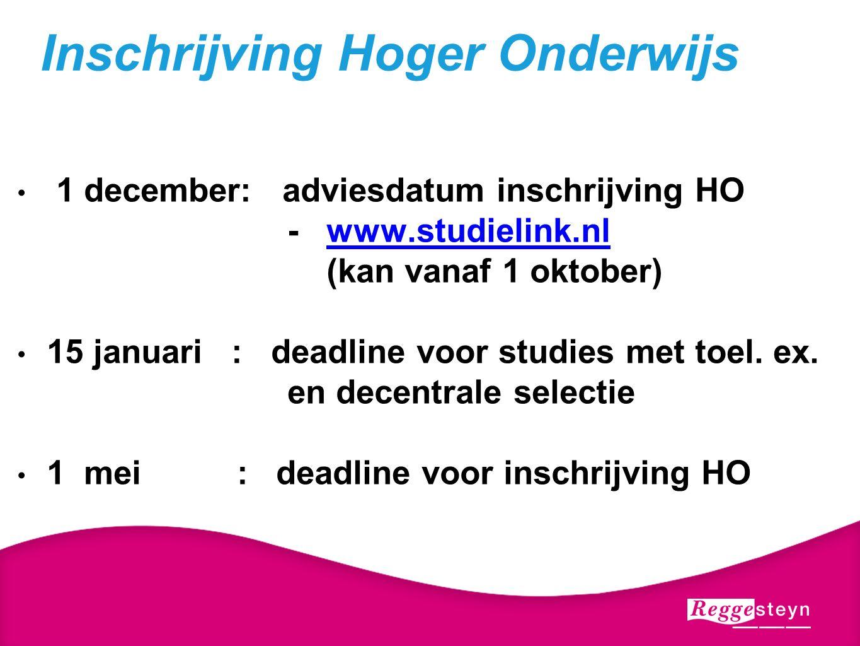 1 december: adviesdatum inschrijving HO - www.studielink.nlwww.studielink.nl (kan vanaf 1 oktober) 15 januari : deadline voor studies met toel.