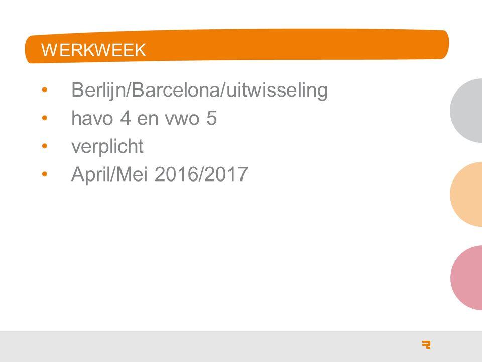 WERKWEEK Berlijn/Barcelona/uitwisseling havo 4 en vwo 5 verplicht April/Mei 2016/2017