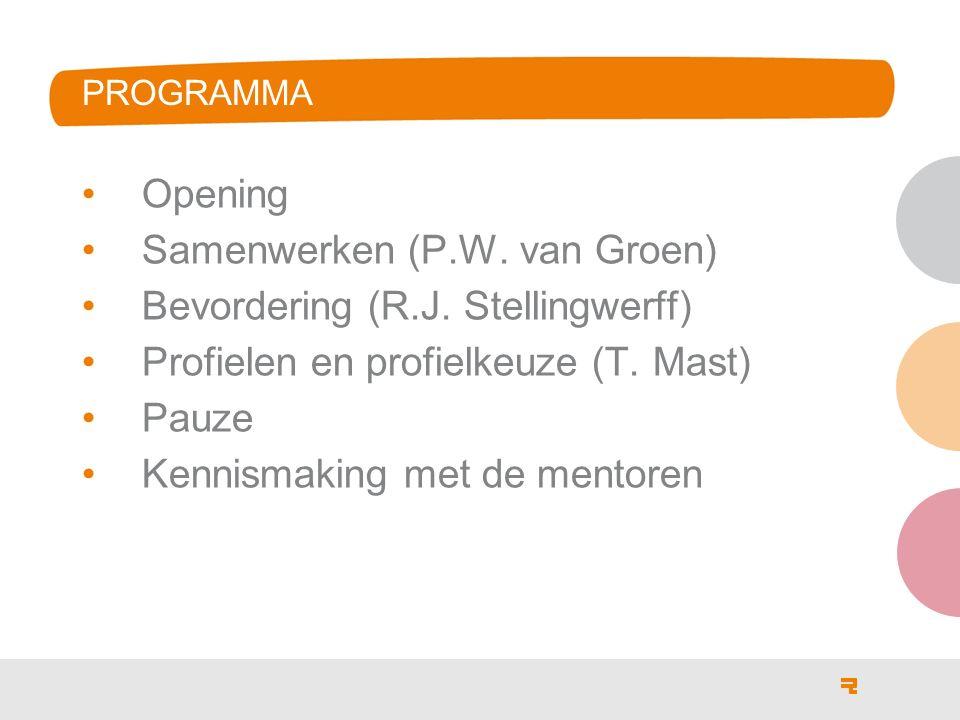 PROGRAMMA Opening Samenwerken (P.W. van Groen) Bevordering (R.J. Stellingwerff) Profielen en profielkeuze (T. Mast) Pauze Kennismaking met de mentoren