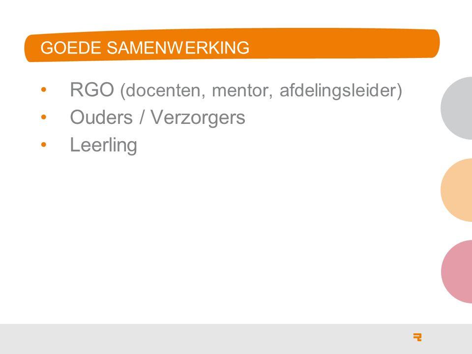 RGO (docenten, mentor, afdelingsleider) Ouders / Verzorgers Leerling GOEDE SAMENWERKING
