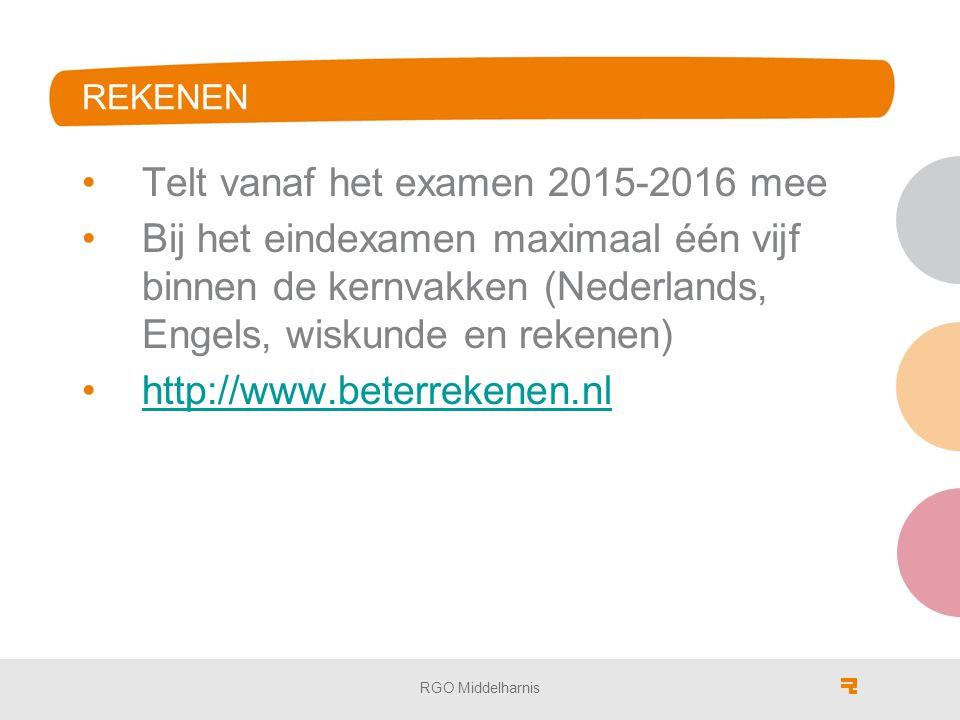 REKENEN Telt vanaf het examen 2015-2016 mee Bij het eindexamen maximaal één vijf binnen de kernvakken (Nederlands, Engels, wiskunde en rekenen) http://www.beterrekenen.nl RGO Middelharnis