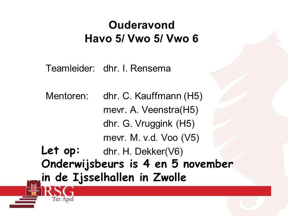 Teamleider:dhr. I. Rensema Mentoren: dhr. C. Kauffmann (H5) mevr.