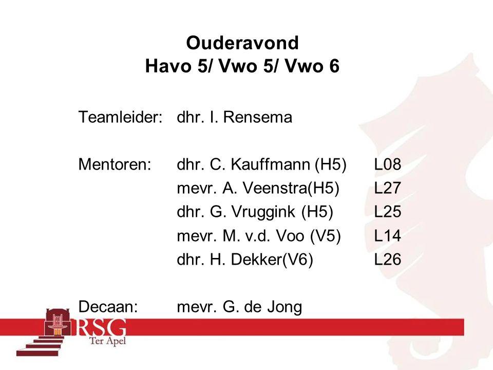 Mentoren: dhr. C. Kauffmann (H5)L08 mevr. A. Veenstra(H5)L27 dhr. G. Vruggink (H5)L25 mevr. M. v.d. Voo (V5)L14 dhr. H. Dekker(V6)L26 Decaan:mevr. G.
