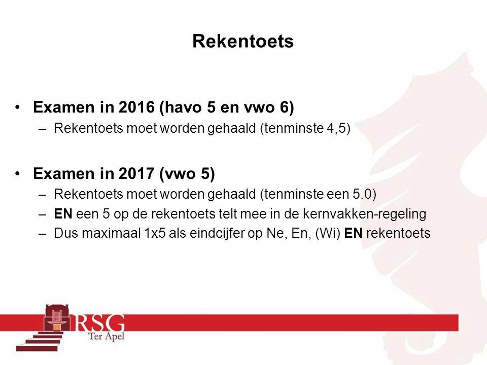 Rekentoets Examen in 2016 (havo 5 en vwo 6) –Rekentoets moet worden gehaald (tenminste 4,5) Examen in 2017 (vwo 5) –Rekentoets moet worden gehaald (te